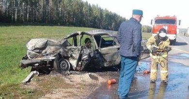 Огненное ДТП на трассе в РТ: водитель «Волги» погиб после столкновения с «Камазом»