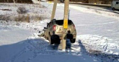 В Татарстане водитель Renault попал в ДТП между двух столбов