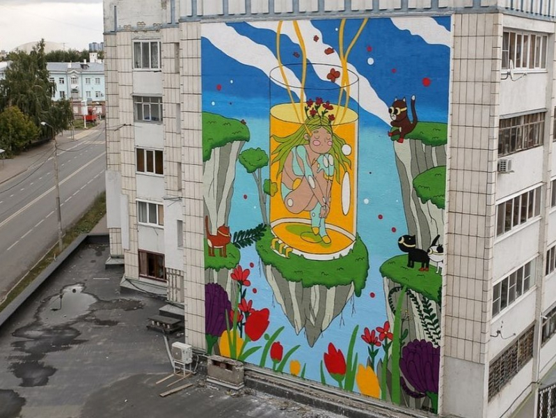 Новый мурал «Сон» украсил фасад дома в Кировском районе Казани