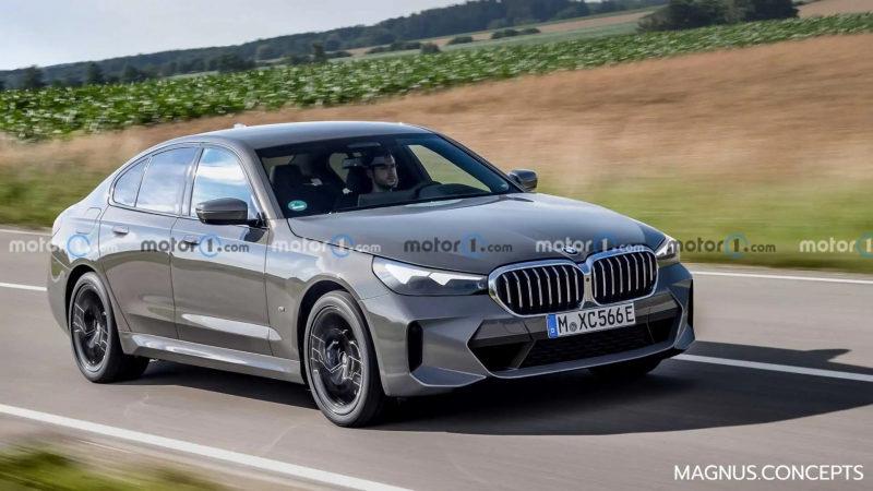 На рендере показан обновленный седан BMW 5-Series 2022